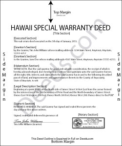 Hawaii Special Warranty Deed Form