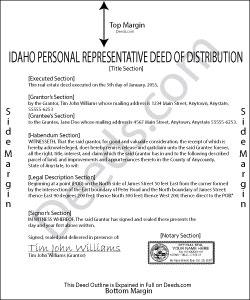 Idaho Personal Representative Deed of Distribution Form