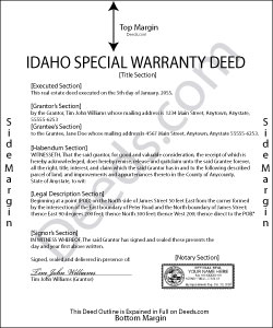 Idaho Special Warranty Deed Form