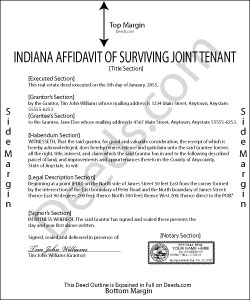 Indiana Affidavit of Surviving Joint Tenant Form