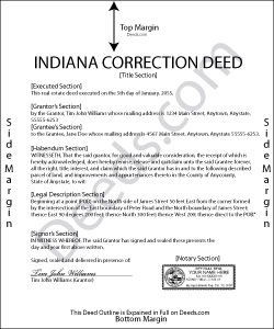 quick claim deed form indiana  Indiana Correction Deed
