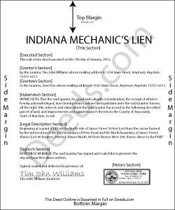 Indiana Mechanics Lien Form