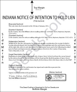 Indiana Notice of Intention to Hold Lien Form