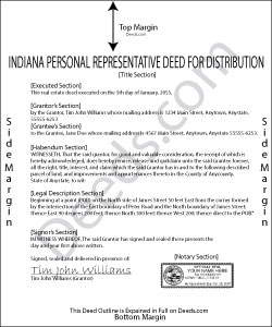 Indiana Personal Representative Deed for Distribution Form