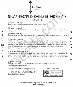 Indiana Personal Representative Deed for Sale Form