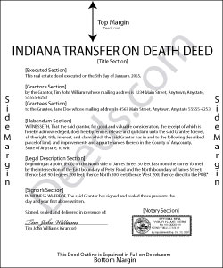 Indiana Transfer on Death Deed Form