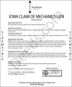 Iowa Claim of Mechanics Lien Form