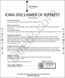 Iowa Disclaimer of Interest Form
