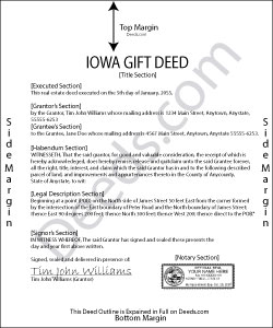 Iowa Gift Deed Form