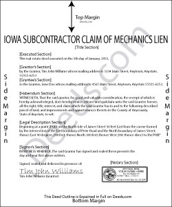 Iowa Subcontractor Claim of Mechanics Lien Form