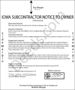 Iowa Subcontractor Notice to Owner Form