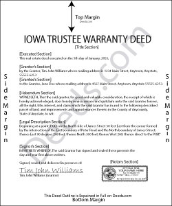 Iowa Trustee Warranty Deed Form