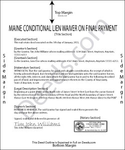 Maine Conditional Lien Waiver on Final Payment Form