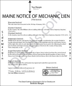 Maine Notice of Mechanic Lien Form