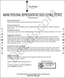 Maine Personal Representative Deed of Sale Testate Forms | Deeds.com
