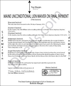 Maine Unconditional Lien Waiver on Final Payment Form