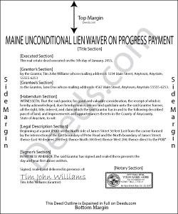 Maine Unconditional Lien Waiver on Progress Payment Form