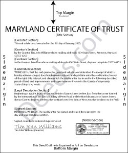 Maryland Certificate of Trust Form