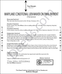 Maryland Conditional Lien Waiver on Final Payment Form