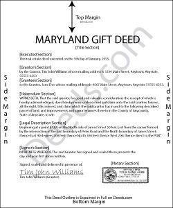 Maryland Gift Deed Form