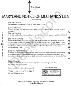 Maryland Notice of Mechanics Lien Form