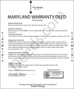 Maryland Warranty Deed Form