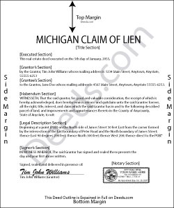 Michigan Claim of Lien Form