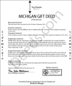 Michigan Gift Deed Form