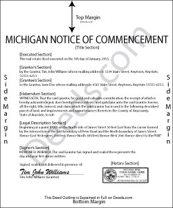 Michigan Notice of Commencement Form