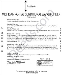 Michigan Partial Conditional Waiver of Lien Form