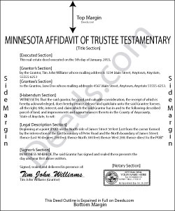 Minnesota Affidavit of Trustee for Testamentary Trust Form