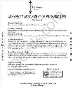 Minnesota Assignment of Mechanic Lien Form