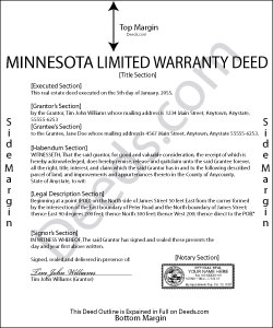 Minnesota Limited Warranty Deed Excluding Assessment Form