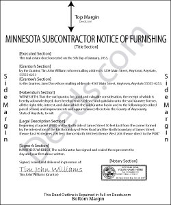 Minnesota Subcontractor Notice of Furnishing Form