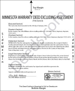 Minnesota Warranty Deed Excluding Assessment Form