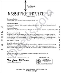 Mississippi Certificate of Trust Form