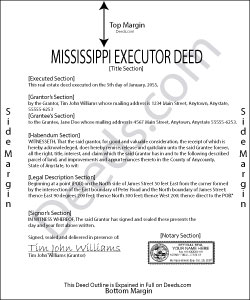Mississippi Executor Deed Form
