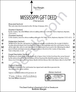 Mississippi Gift Deed Form