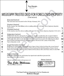 Mississippi Trustee Deed for Sale of Foreclosed Property Form