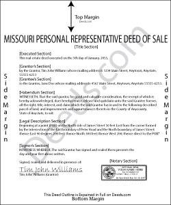 Missouri Personal Representative Deed of Sale Form