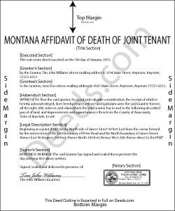 Montana Affidavit of Deceased Joint Tenant Form