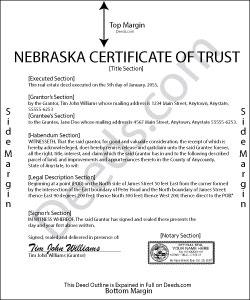 Nebraska Certificate of Trust Form