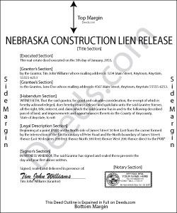 Nebraska Construction Lien Release Form
