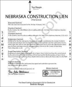 Nebraska Construction Lien Form