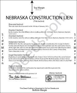 Nebraska Construction Lien Form