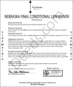 Nebraska Final Conditional Lien Waiver Form