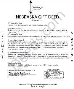 Nebraska Gift Deed Form