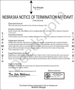 Nebraska Notice of Termination Affidavit Form