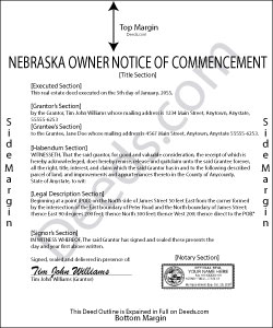 Nebraska Owner Notice of Commencement Form