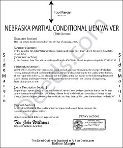 Nebraska Partial Conditional Lien Waiver Form